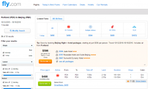 Portland to Beijing: Fly.com Results Page