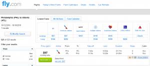 Philly to Atlanta: Fly.com Results Page