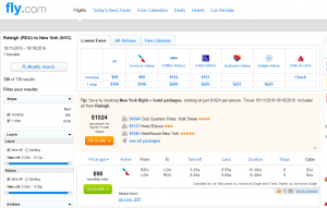 Raleigh to NYC: Fly.com Results Page