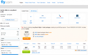Seattle to Long Beach: Fly.com Results Page