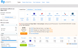 SF to Vegas: Fly.com Results Page