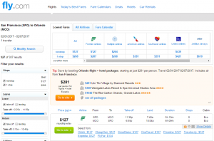 SF to Orlando: Fly.com Results Page
