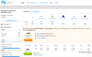 D.C. to Charleston: Fly.com Results Page