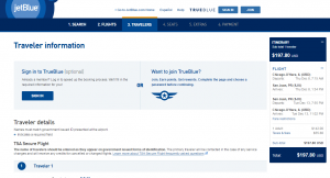 Chicago to San Juan: JetBlue Booking Page