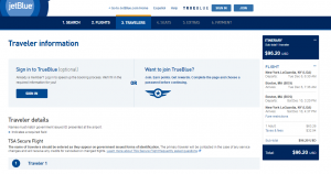 NYC to Boston: JetBlue Booking Page