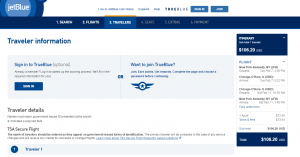 NYC to Chicago: JetBlue Booking Page