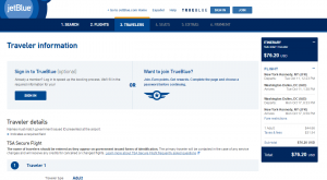 NYC to D.C.: JetBlue Booking Page