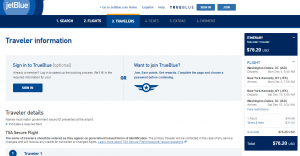D.C. to NYC: JetBlue Booking Page