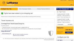 D.C. to Munich: Lufthansa Booking Page