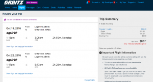 Boston to Chicago: Orbitz Booking Page