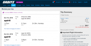 Chicago to Boston: Orbitz Booking Page