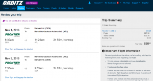 Denver to Atlanta: Orbitz Booking Page