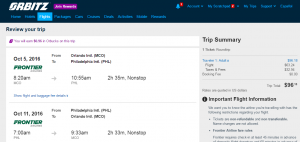 Orlando to Philly: Orbitz Booking Page
