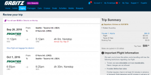 Seattle to Chicago: Orbitz Booking Page