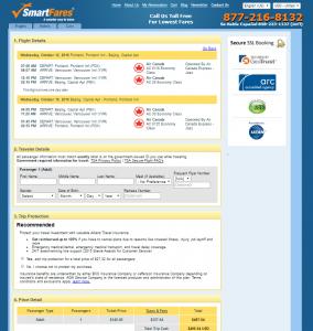 Portland to Beijing: SmartFares Booking Page
