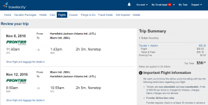 Atlanta to Miami: Travelocity Booking Page