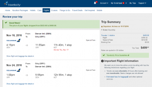 Denver to Paris: Travelocity Booking Page