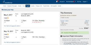 LA to Tokyo: Travelocity Booking Page