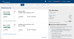 Miami to Atlanta: Travelocity Booking Page