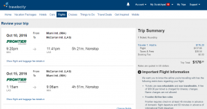 Miami to Las Vegas: Travelocity Booking Page