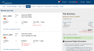 NYC to Nice: Travelocity Booking Page