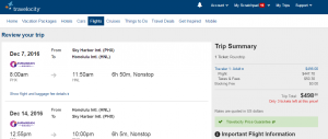 Phoenix to Honolulu: Travelocity Booking Page