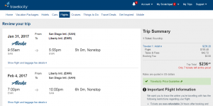 San Diego to NYC: Travelocity Booking Page