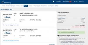 Seattle to Anchorage: Travelocity Booking Page