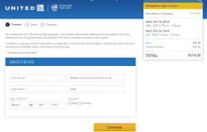 Chicago to LA: United Booking Page