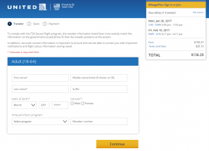Charleston to NYC: United Booking Page