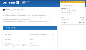 SF to Beijing: United Booking Page