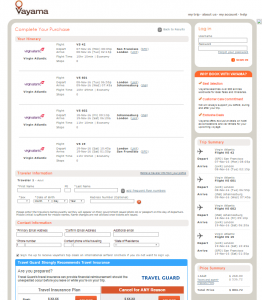SF to Johannesburg: Vayama Booking Page