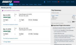 AUS-LAS: Orbitz Booking Page ($87)