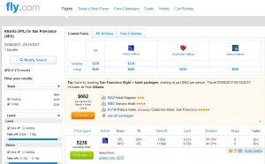Atlanta to San Francisco: Fly.com Results