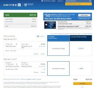 Atlanta to San Francisco: United Booking Page