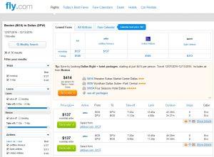 Boston to Dallas: Fly.com Results