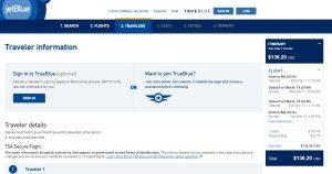 Boston to Dallas: JetBlue Booking Page