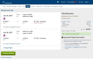 Boston to Iceland: Travelocity Booking Page