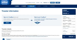 Boston to New Orleans: JetBlue Booking Page