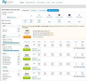 Boston to San Juan: Fly.com Results