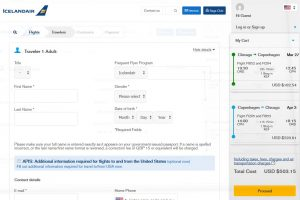CHI-CPH: Icelandair Booking Page