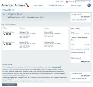 CHI-DEN: American Airlines Booking Page ($87)