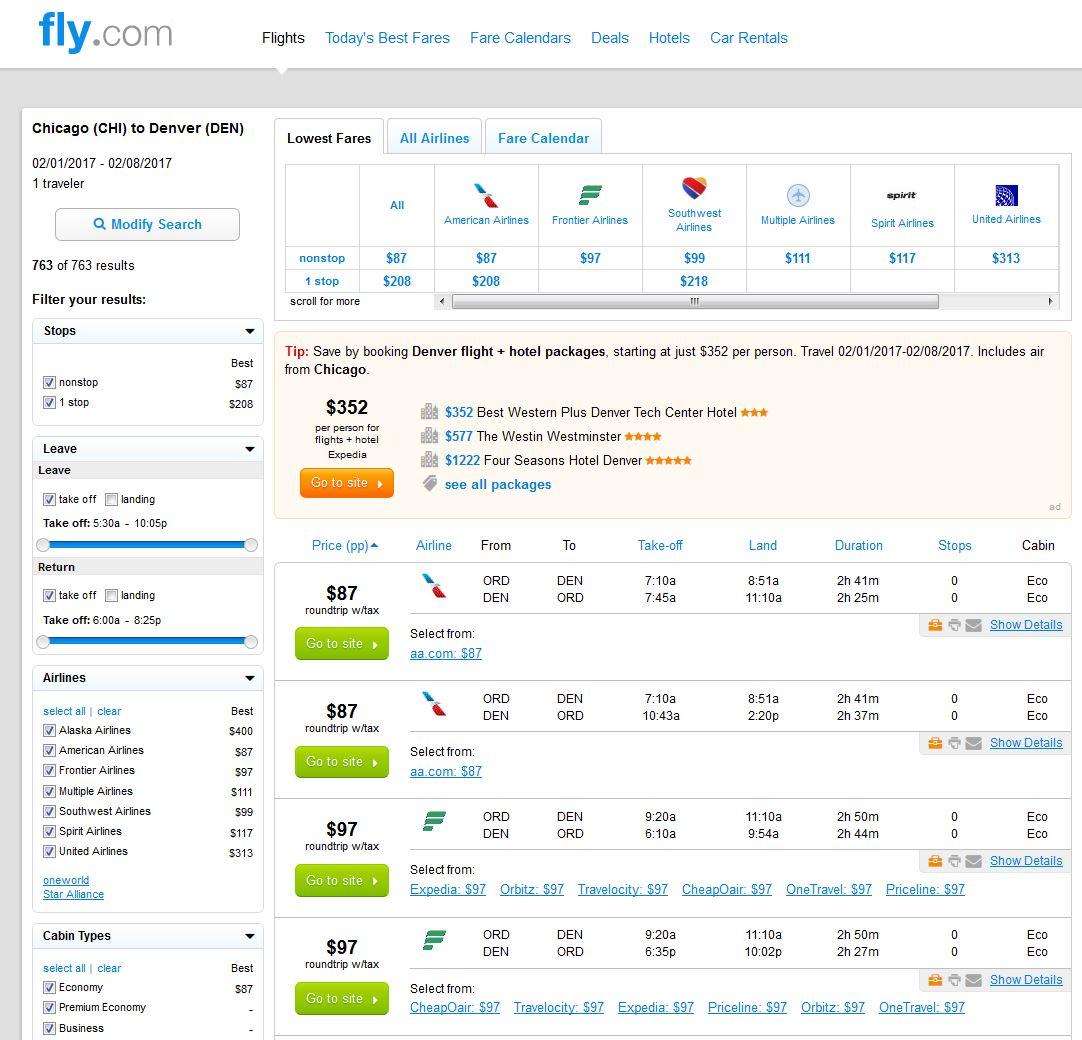 Search Results: $87-$117 -- Chicago To Denver Nonstop Into Ski Season (R/T