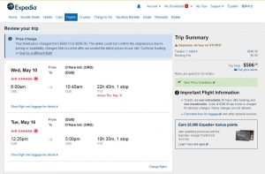CHI-DUB: Expedia Booking Page ($501)