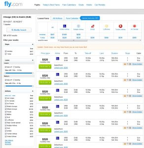 CHI-DUB: Fly.com Search Results ($542)