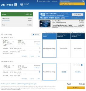 CHI-DUB: United Airlines Booking Page ($542)