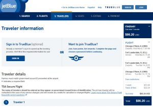 CHI-FLL: JetBlue Booking Page