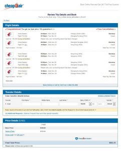 CHI-HKG: CheapOair Booking Page ($463)