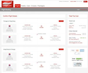 CHI-HKG: Webjet Booking Page ($508)