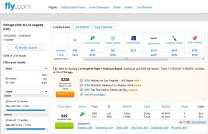 CHI-LAX: Fly.com Search Results